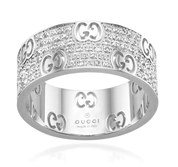Gucci White 18k Gold Icon Stardust Eternity 057ct Diamond Band Ring