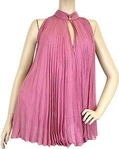 Gucci Womens Silk Pleated Top Pink