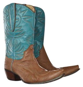 Guess By Marciano Womens Teal Embroidered Cowboy Leather Brown Boots