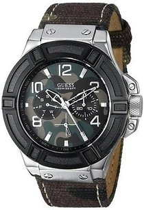 Guess Guess Camo-printed Canvas On Leather Mens Watch U0407g1