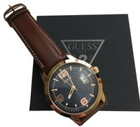 Guess Guess Men's Honey Brown Croc Embossed Watch 43 mm
