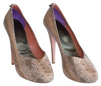 Guillaume Hinfray Tan Snakeskin Heels Pumps Perfect Beige Platforms