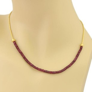 GURHAN Gurhan 24k Yellow Gold Faceted Ruby Beads Straw Link Necklace