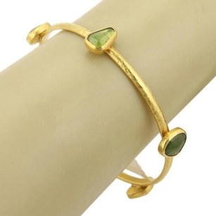 GURHAN Gurhan Elements 24k Gold Vesuvianite Gemstone Hammered Bangle