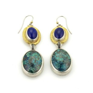 GURHAN Gurhan Galapagos Turquoise Lapis 24k Gold Sterling Hook Dangle Earrings
