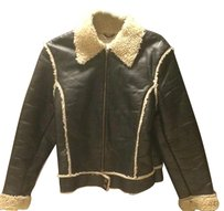 H&M Leather Faux Fur Shearling Leather Jacket