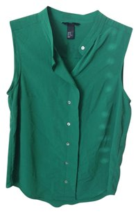 H&M Top GREEN TOP SHELL BUTTON SHORT SLEEVE 10 MEDIUM M