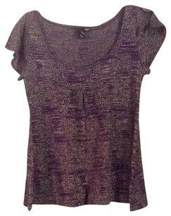 H&M Top Plum Gold Metallic