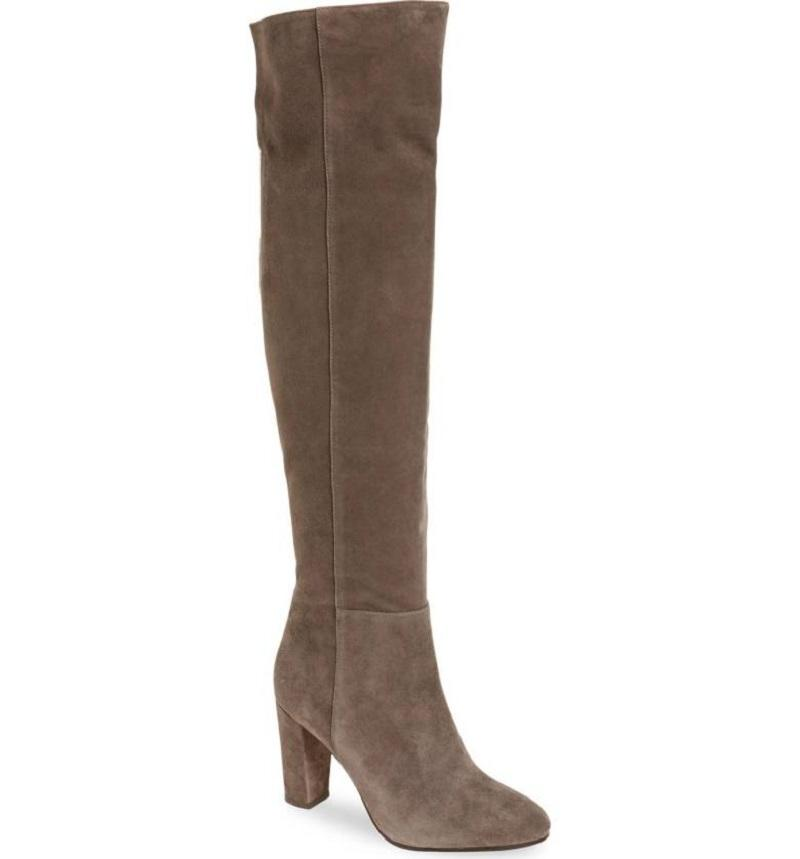 halogen grey noble suede leather the knee boots
