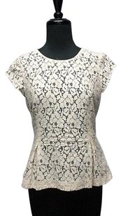 Halogen Lining Cap Sleeves Solid Lace Back Zip 2423 A Top ivory, black