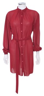 Halston short dress Red Sheer Shirt Designer Classic on Tradesy