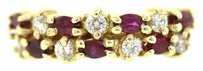 14k Yellow Gold Marquise Shape Ruby & Round Cut Diamonds Anniversary Band Stack Ring
