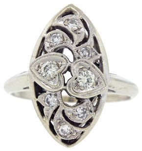 1930s Antique Art Deco 0.30ctw Diamond 14k White Gold Filigree Engagement Ring