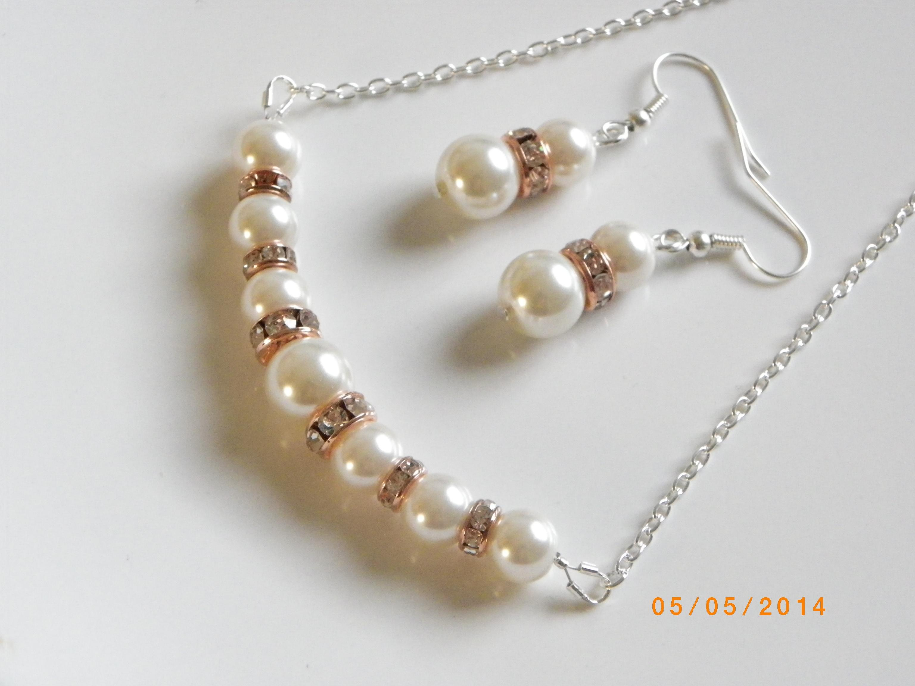 Ivory Pearl Set Necklace And Earrings Bridal Jewelry Rose Gold