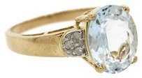Ladies 10k Yellow Gold Aqua Blue Stone & Diamond Cocktail Ring Size 7.25