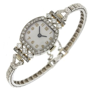 Ladies Antique Art Deco 14k White Gold Diamond Bracelet Watch