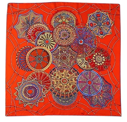 Preload https://item5.tradesy.com/images/handmade-large-square-silk-twill-scarf-fine-100-silk-high-quality-painted-with-hand-rolled-hem-orange-circle-them-36x36-90x90cm-3131074-0-0.jpg?width=440&height=440
