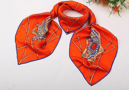 Other Large Square Silk Twill Scarf Fine 100% Silk High Quality Painted with Hand Rolled Hem Orange Circle Theme 36