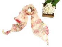 Long Two-Layer Silk Georgette Scarf Red Floral Print 72in x 16in (180cm x 40cm)