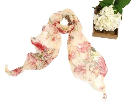 Other Long Two-Layer Silk Georgette Scarf Red Floral Print 72in x 16in (180cm x 40cm)