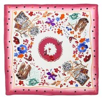 Handmade Medium Square Fine Silk Twill Scarf 100% High Quality Painted with Hand Rolled Hem Pink Theme Butterfly and Flower Print 21