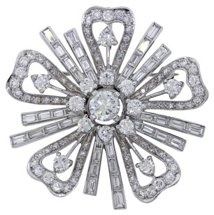 Platinum 5.4ctw E-F VS2 Round & Baguette Cut Diamonds Flower Brooch Pin Necklace Pendant