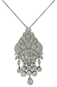 Handmade Stunning Antique Art Deco Platinum 3.48ctw Diamond Dangle Pendant Necklace