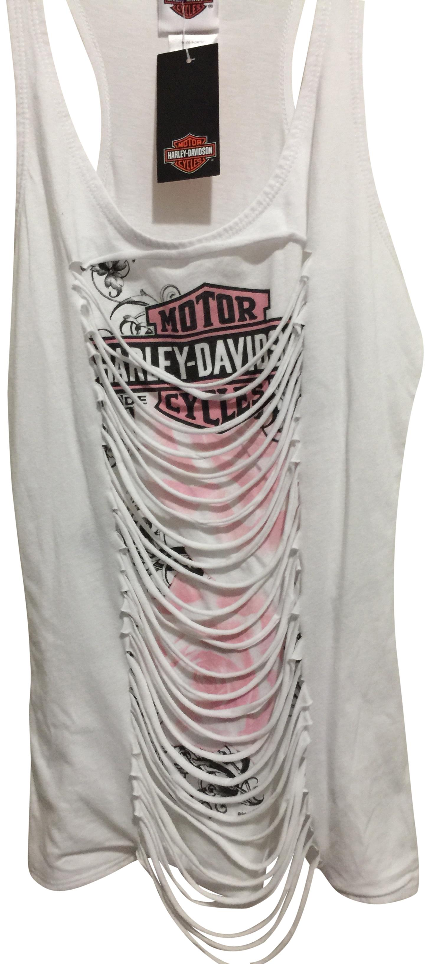 Harley Davidson White With Pink And Black Design On Front And Las