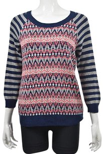 Harris Wallace Wallace Womens Blue Crewneck 34 Sleeve Printed Wool Sweater