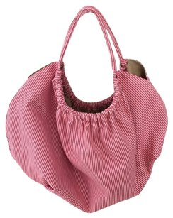 Hat Attack Pink White Stripe Beach Bag