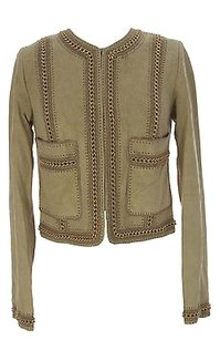 Haute Hippie Womens Embellished Goat Leather Nude Jacket
