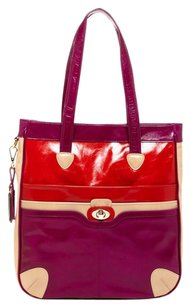 Hayden-Harnett Color-blocking Tote in Red, Purple, Tan