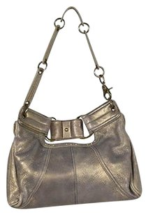Hayden-Harnett Womens Taupe Metallic Handbag Shoulder Bag