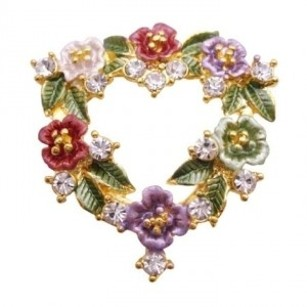Heart Shaped Brooch Color Enamel Flower Valentine Cake Bouquet Brooch