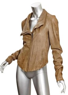 Helmut Lang Leather Zip Front Womens Brown Jacket