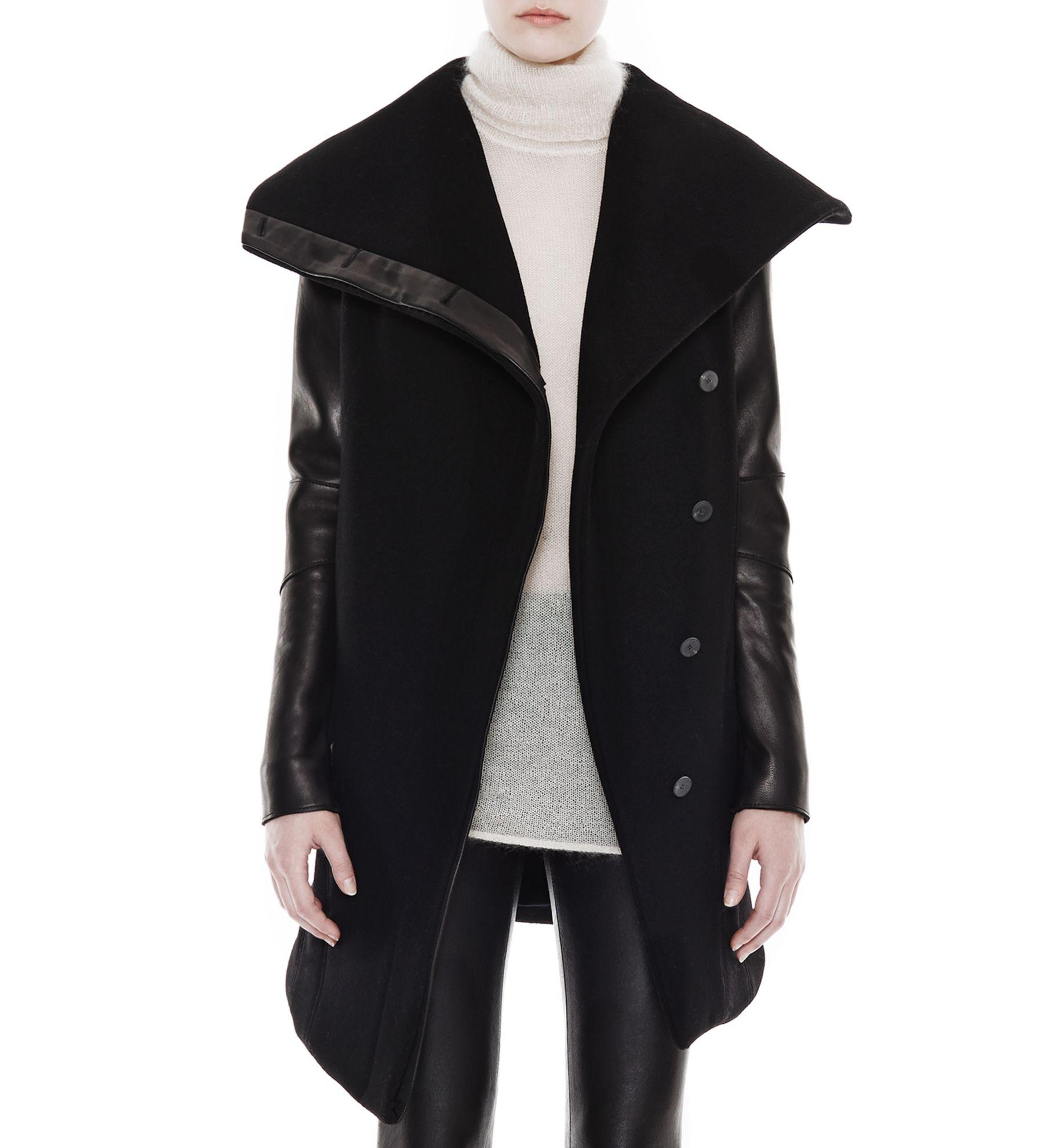 Shop Free Shipping For Cheap Helmut Lang Leather-Trimmed Wool-Blend Jacket 5fAi9s