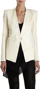 Helmut Lang Helmut Lang Ivory White Blistered Zinc Pebbled Lambskin Leather Blazer Xs0