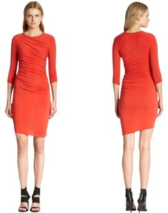 Helmut Lang short dress Red Jersey Ruched Bodycon on Tradesy