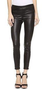 Helmut Lang Stretch Plonge Crop Leather Leggings Jeans Pants