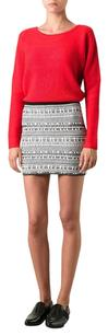 Helmut Lang White Black Linen Nubby Knit Fitted Stretch Bodycon Mini Mini Skirt Multi-Color