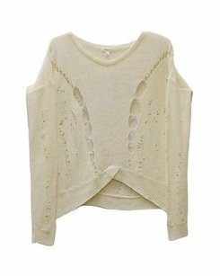 Helmut Lang Cream Linen Open Knit 110990pk Sweater