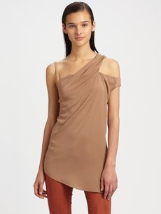 Helmut Lang Mode Silk Leather Top Beige