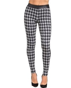 Hem & Thread Houndstooth Black Leggings