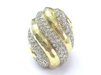 Henry Dunay Designs 18kt Henry Dunay Diamond Yellow Gold Hammered Dome Ring 2.75ct