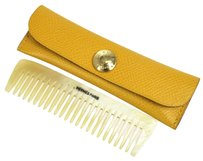 Hermès 100% Authentic HERMES Baffalo Horn Comb With Case Pouch Yellow Vintage W21154a