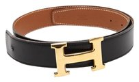 HERMES Hermes,Womens,Classic,Black,Leather,Gold,Goldtone,H,Buckle,Belt,Kit,Xs
