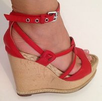 Hermès Hermes Leather Coral Red Platforms