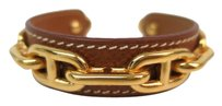 Hermès Auth HERMES Chaine D'ancre Bangle Palladium/Leather Brown/Gold (BF086797)