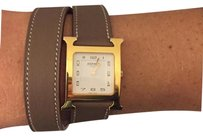Herms AUTH Hermes Double Tour Smooth Taupe Calfskin Leather Strap