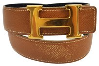 Hermès Auth HERMES Vintage H Logos Buckle Constance Reversible Belt Leather #70 B25981